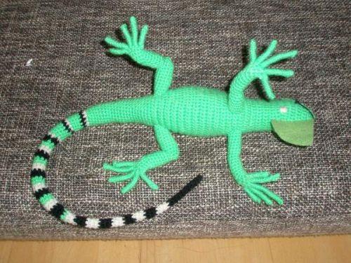 Häkelanleitung Grüner Leguan Pats Funny Pets Wolldesign